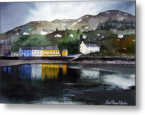 Scottish Fishing Harbour Metal Print featuring the painting Tarbert Reflections by Paul Dene Marlor