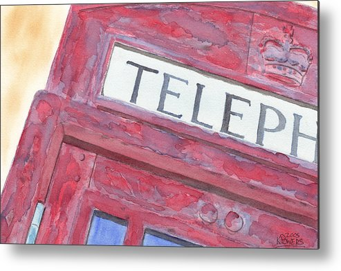 Telephone Metal Print featuring the painting Telephone Booth by Ken Powers