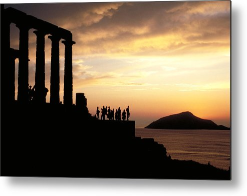 Tourists Metal Print featuring the photograph Temple Of Poseiden In Greece by Carl Purcell