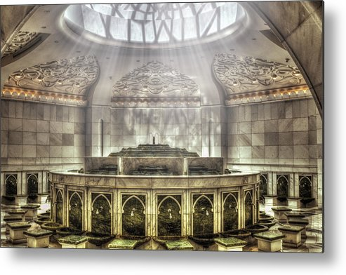 Abstract Metal Print featuring the photograph Temple Washroom by John Swartz