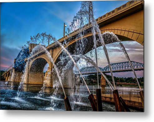 Tennessee Aquarium Fountains Chattanooga Market Street Bridge Walnut Street Sky Evening Sunset Metal Print featuring the photograph Tennessee Aquarium Fountains by Roland Millsaps
