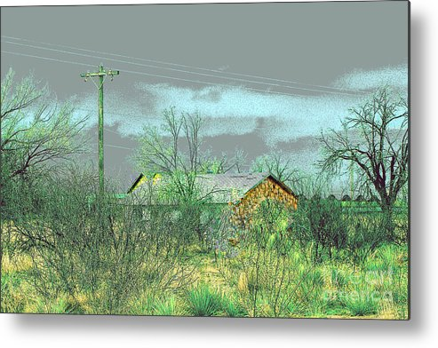 Landscape Metal Print featuring the photograph Texas Farm House - Digital Painting by Merton Allen