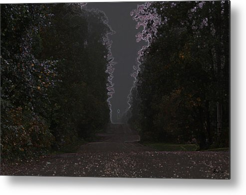 Road Ghost Boy Trees Laneway Treed Nature Colorful Leaves Plants Stones Metal Print featuring the photograph The Adventurer by Andrea Lawrence