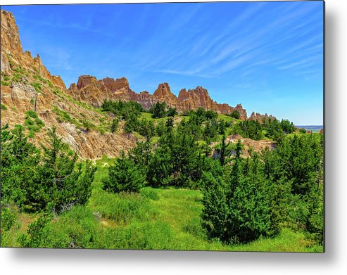 Frank J Benz Metal Print featuring the photograph The Badlands Of South Dakota - Badlands167979 by Frank J Benz