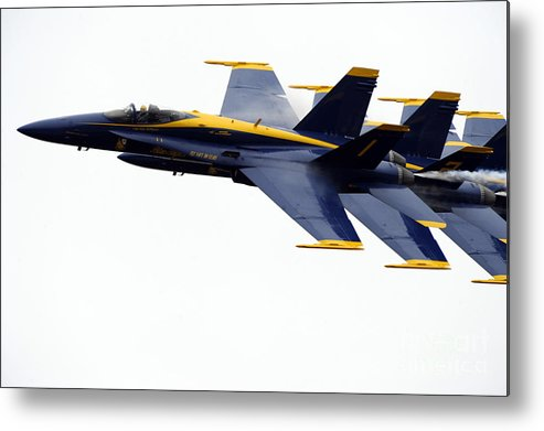 Blue Angels Metal Print featuring the painting the Blue Angels leads the diamond in the Echelon by Celestial Images
