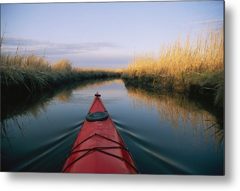 North America Metal Print featuring the photograph The Bow Of A Kayak Points The Way by Skip Brown
