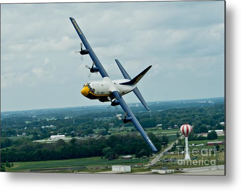 The C-130  Credit Us Navy Metal Print featuring the painting the C-130 by Celestial Images