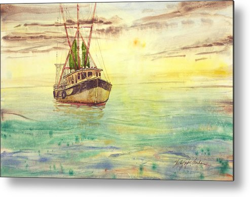 Boat Metal Print featuring the painting The Day Off by Shirley Sykes Bracken