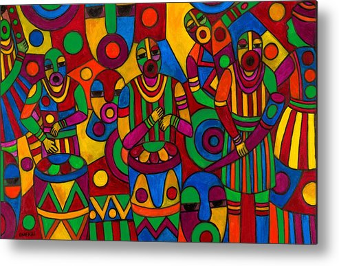 Abstract Metal Print featuring the painting The Festival by Emeka Okoro