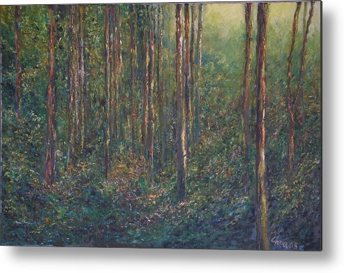 Landscape Metal Print featuring the painting The First Light by Wendy Chua