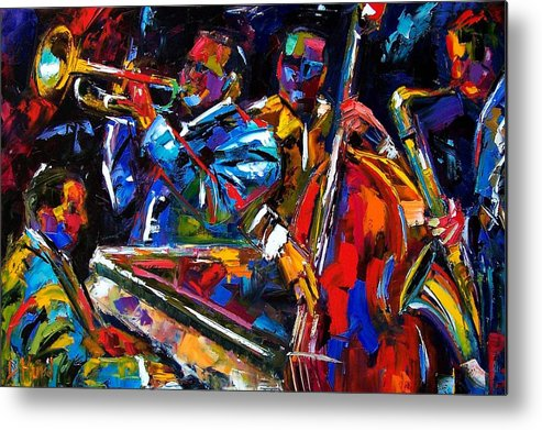 Jazz Metal Print featuring the painting The First Set by Debra Hurd