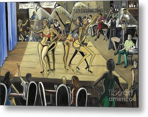 Caricature Metal Print featuring the painting The Fly Girl Beauty Contest by Toni Thorne