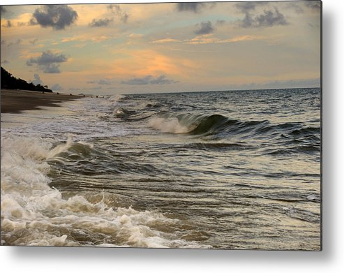 Landscape Metal Print featuring the photograph The Force Of The Sea by Iris Greenwell