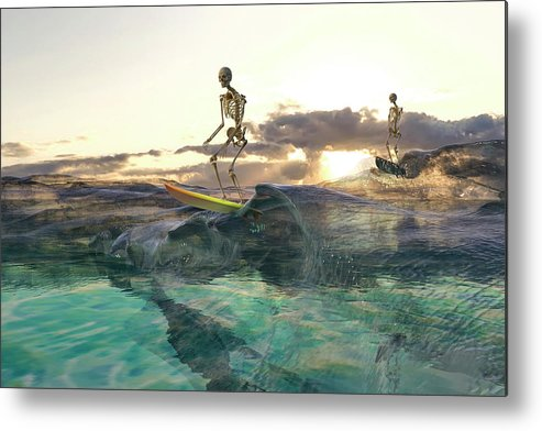 Skeleton Metal Print featuring the digital art The Glass Ocean by Betsy Knapp