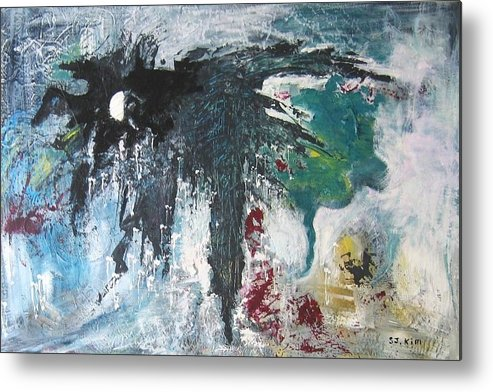 Abstract Paintings Metal Print featuring the painting The Half Moon by Seon-Jeong Kim