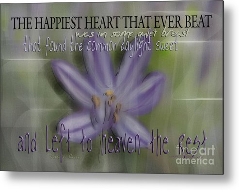 Purple Metal Print featuring the photograph The Happiest Heart That Ever Beat by Vicki Ferrari