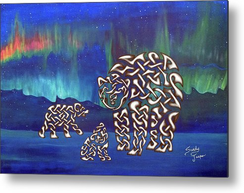 Polar Bears Metal Print featuring the painting The Knotty Polar Bears by Sandy Jasper