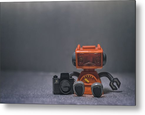 Toy Robot Metal Print featuring the photograph The Lonely Robot Photographer by Scott Norris
