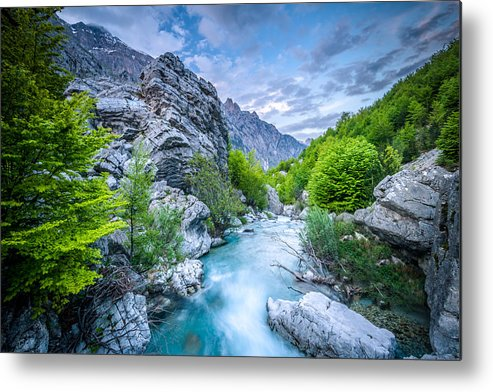 Landscape Format Metal Print featuring the photograph The Mountain Spring by Radek Spanninger