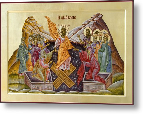 Icon Metal Print featuring the painting The Resurrection Of Christ by Julia Bridget Hayes