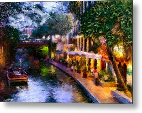 River Walk Metal Print featuring the painting The River Walk by Lisa Spencer