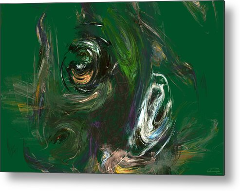 Abstract Metal Print featuring the painting The Strange Flower by Emma Alvarez