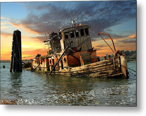 Boat Metal Print featuring the photograph The Sunset Years Of The Mary D. Hume by James Eddy