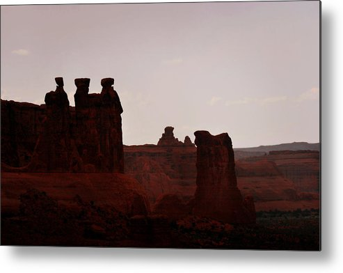 Landscape Metal Print featuring the photograph The Three Gossips Arches National Park Utah by Christine Till
