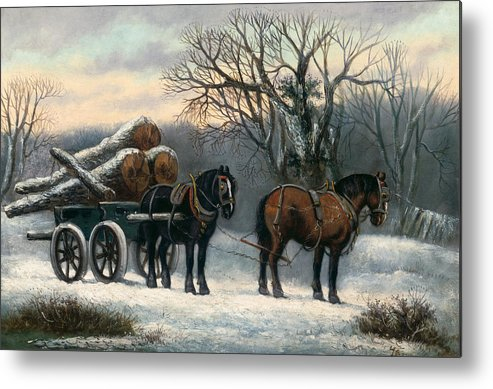 The Metal Print featuring the painting The Timber Wagon In Winter by Anonymous