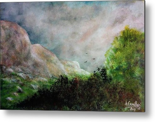 Metal Print featuring the painting The Valley 1 by Anthony Camilleri