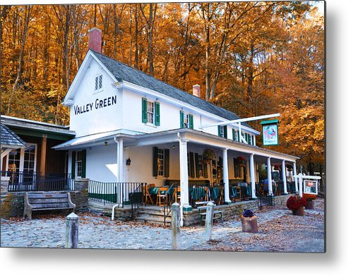 Valley Green Metal Print featuring the photograph The Valley Green Inn In Autumn by Bill Cannon