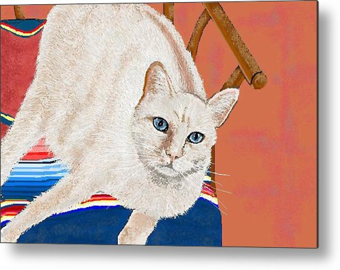 Cat Metal Print featuring the digital art This Seat Is Taken by Carole Boyd
