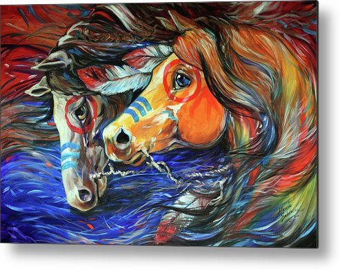 Horses Metal Print featuring the painting Three Feathers Indian War Ponies by Marcia Baldwin