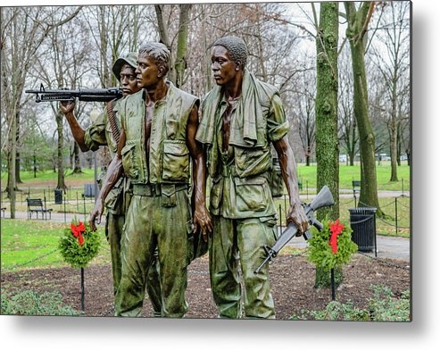 African Metal Print featuring the photograph Three Soldiers Memorial by Cityscape Photography
