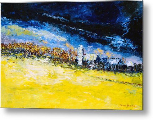 Abstract Metal Print featuring the painting Thunderstorm by Claude Marshall