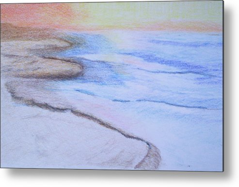 Landscape Metal Print featuring the drawing Tide Is Out by Suzanne Udell Levinger