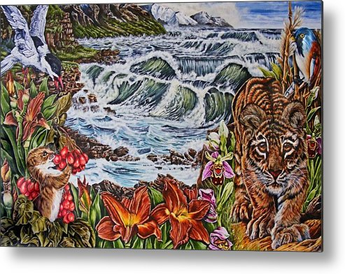 Tiger Metal Print featuring the painting Tiger Walk by Donald Dean