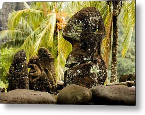 Nobody Metal Print featuring the photograph Tiki Carvings In Hatiheu Village, Nuku by Tim Laman