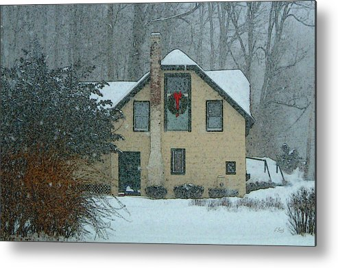 Brandywine Pennsylvania Carriage House Rural Country Snow Snowy Woodsy Kennett Square Metal Print featuring the photograph Tis The Season by Gordon Beck