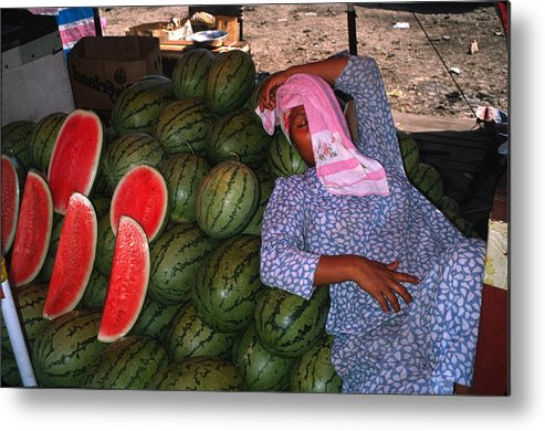 Woman Metal Print featuring the photograph Too Hot To Sell Watermelons by Carl Purcell