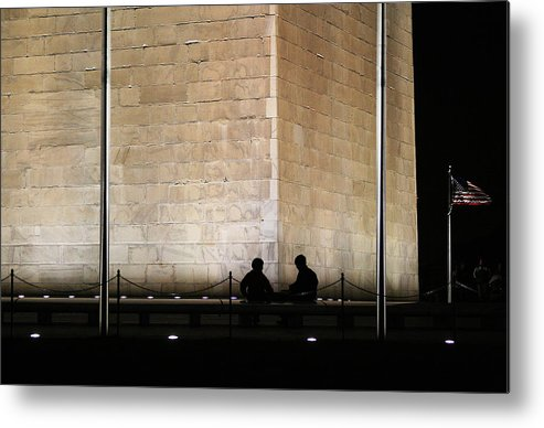 Washington Monument Metal Print featuring the photograph Trading Stories by Brian M Lumley