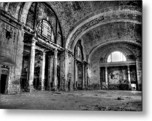 Decay Metal Print featuring the photograph Train Station Lobby Decay by Joseph Skalny