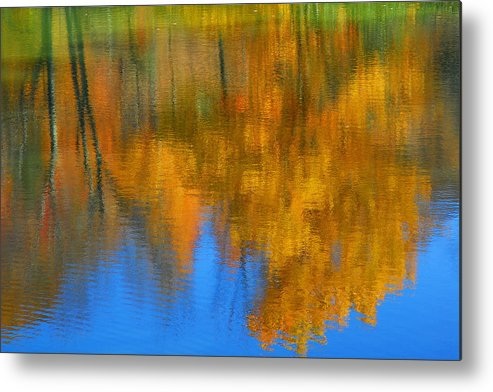 Fall Color Metal Print featuring the photograph Tree Reflection 'painting' by Alan Lenk