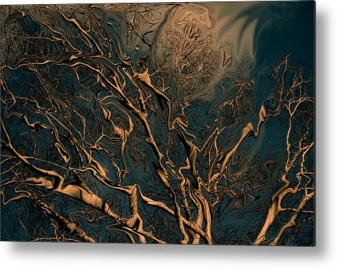 Trees Nature Abstract Digital Painting Metal Print featuring the photograph Trippy Tree by Linda Sannuti