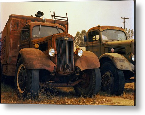 Smoke Trucks Perris Museum Military Old Texture Fire Metal Print featuring the photograph Trucks Under Smoke by Lawrence Costales