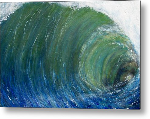 Wave Metal Print featuring the painting Tube Of Water by Tony Rodriguez