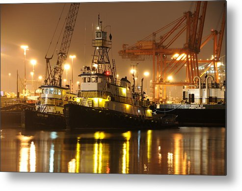 Tugboat Fog Maritime Shipping Boat Ship Marine Night Water Ocean Metal Print featuring the photograph Tugboat In The Fog by Alasdair Turner