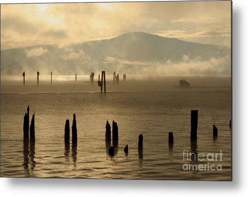 Tugboat Metal Print featuring the photograph Tugboat In The Mist by Idaho Scenic Images Linda Lantzy
