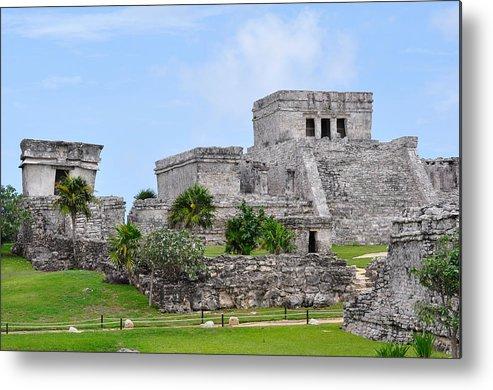 Tulum Mexico Metal Print featuring the photograph Tulum Mayan Ruins by Glenn Gordon