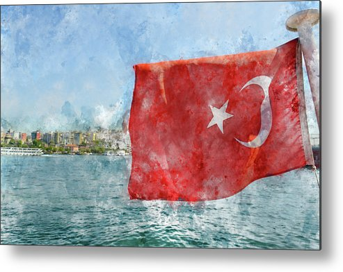 Flag Metal Print featuring the photograph Turkish Flag by Brandon Bourdages